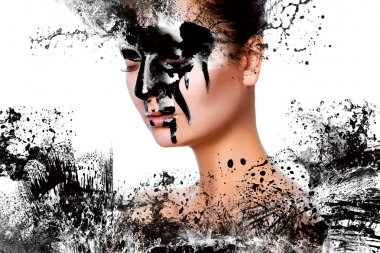 Horizontal photo of sexy woman with paint on face