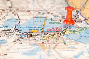 Map Closeup of New Orleans with Push Pin