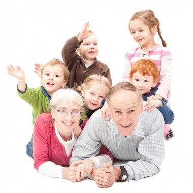 Happy grandparents with grandkids