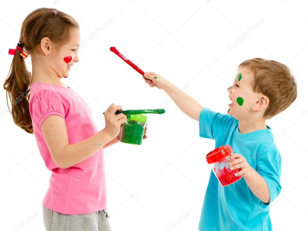 children painting faces with kids paint brushes stock photo 14130594 - Kids Paint Download