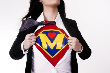 Super Mom Opens Shirt to Reveal Chest Plate Crest Superhero Status