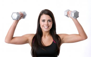 Beautfiul Brunette Woman Expressing Positively Lifts Barbells Low Impact Workout