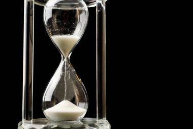 Crystal Hour Glass Sand Falling Marking Time Black Background