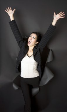 Business Woman Breaks Through Black Barrier