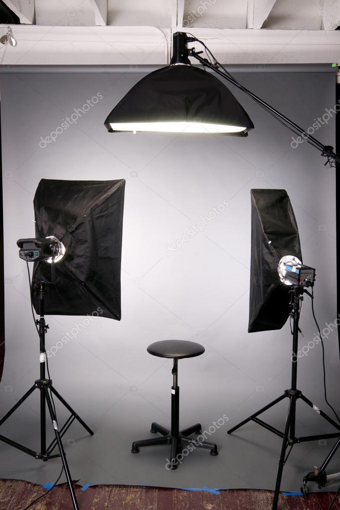 fotografie studio verlichting achtergrond setup grijs stockfoto