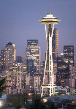 Buildings City Downtown Seattle Washington Space Needle Sunset V