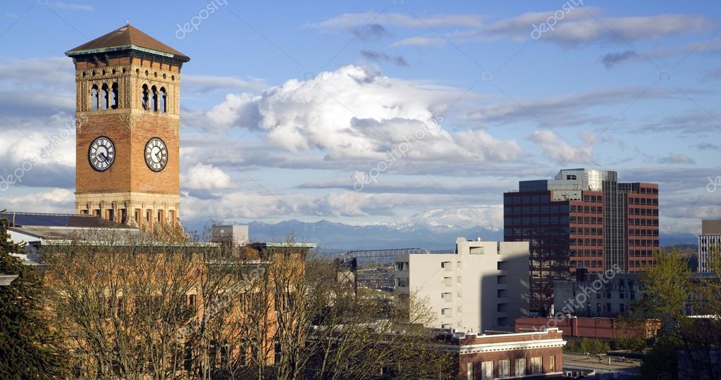 Фотообои Tacoma Skyline Old City Hall Brick Building Architectural Clock