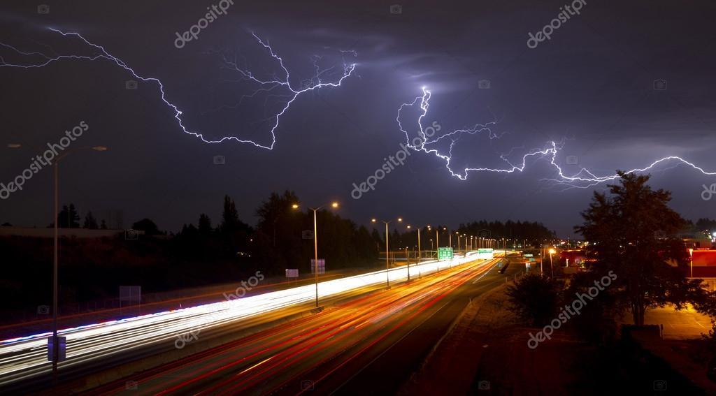 Rare Thunderstorm Producing Lightning Over Tacoma Washington I-5