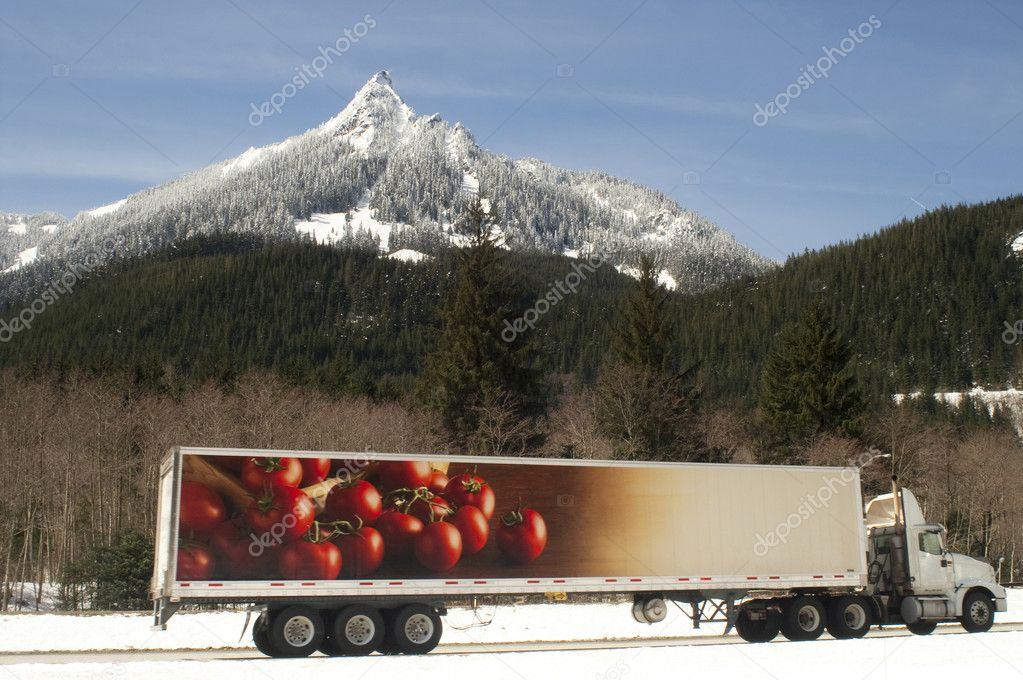 Truck Transports Foods Goods Over Road Through North Cascades Washington