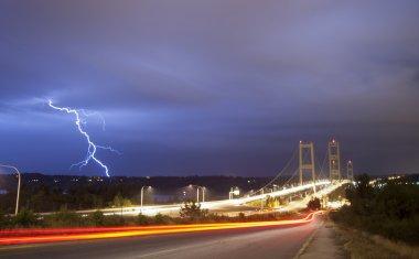 Lightning Strike Thunderstorm Over Narrows Bridge Tacoma Washington
