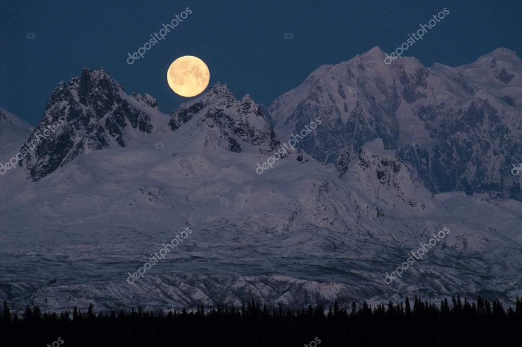 Full Moonrise over Mount McKinley Denali Range Alaska Midnight