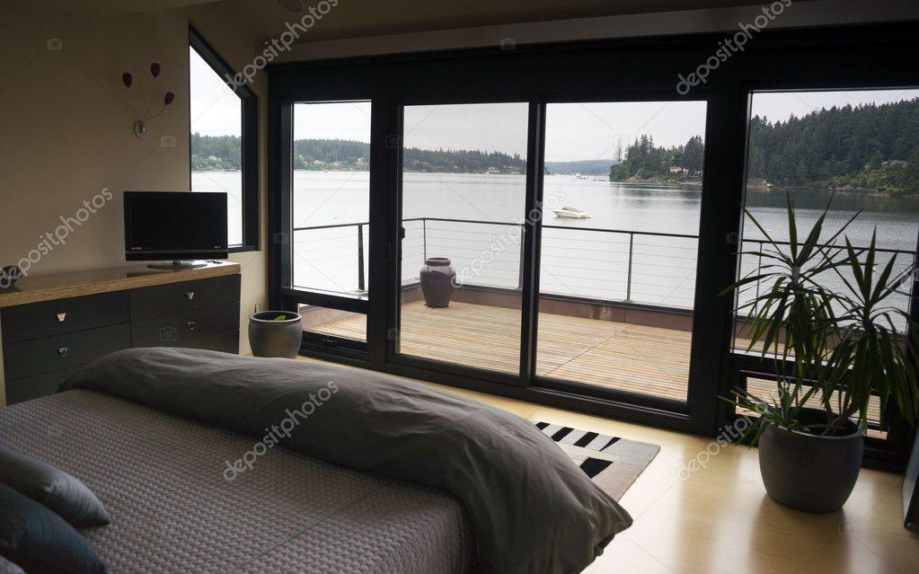 Home Interior Bedroom Sliding Glass Doors Deck Harbor Boat ...