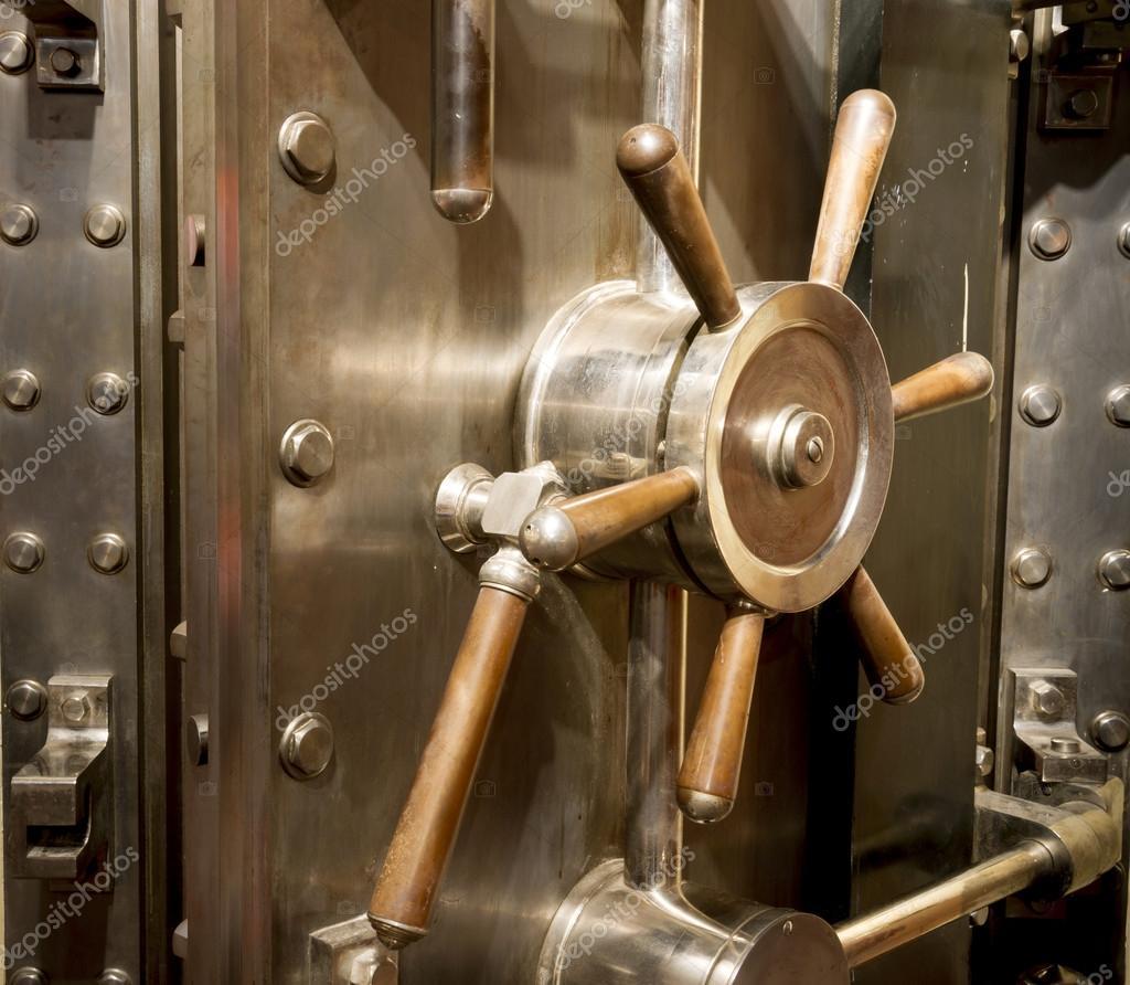 Front of Bank Vault Massive Door Handle Combination Lock Dial