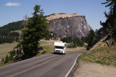 Travel Truck Recreational Vehicle Touring Countryside Two Lane Highway