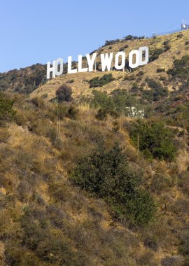 Hollywood Sign High on Hill Wooden City Name California