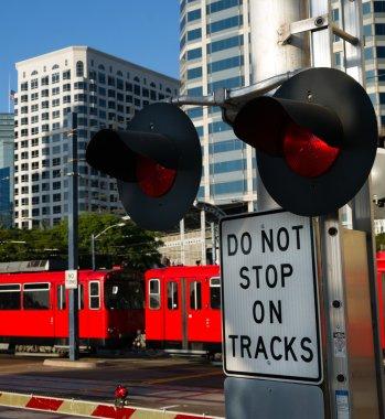 Stop Warning Signal Metro Transit Railroad Tracks Red Trolley Car