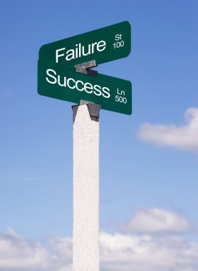 Success Signs Crossroads Failure Street Avenue Sign Blue Skies Clouds