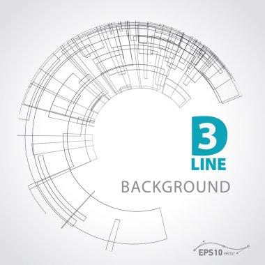 3d line background vector