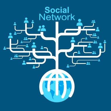 Social network globe worldwide