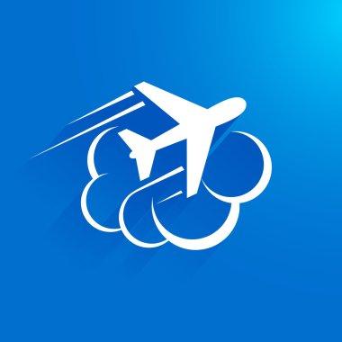 Airplane flight tickets air fly travel takeoff cloud blue elemen