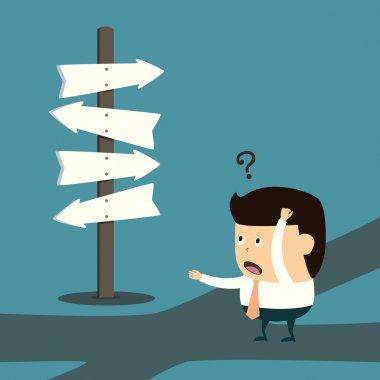 Cartoon Businessman with the alternative choice concept stock vector