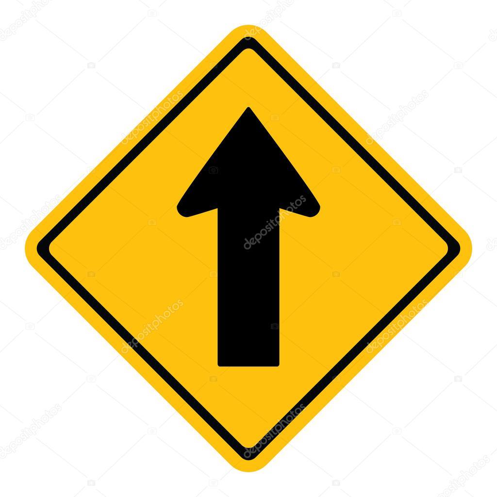 Warning One Way Traffic Sign Stock Vector 29mokara 49464209