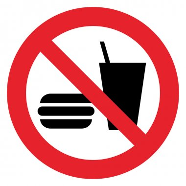 Prohibition sign DO NOT EAT AND DRINK