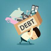 kreslený podnikatel rameno dluhu box