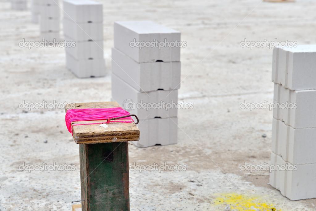 Bau Von Neuen Häusern Mit Sandstein Ziegelsteine U2014 Stockfoto