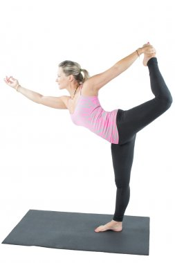 Fitness woman make stretch on yoga pose