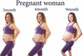 Photo Fitness sports body of slim and pregnant women isolated on white background