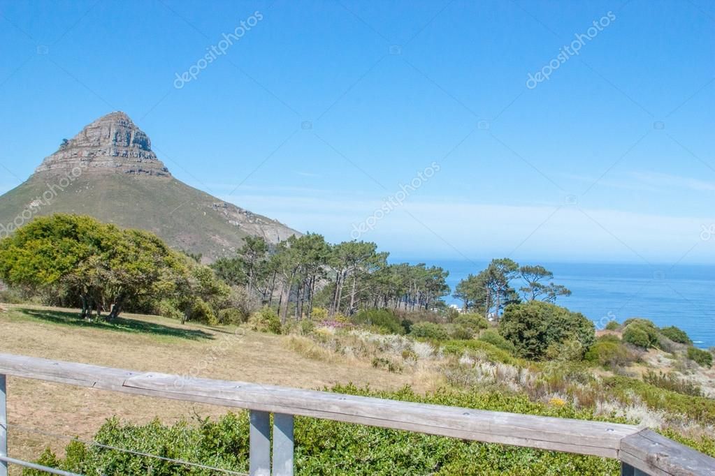 South Africa, Cape Town, Table Mountain, Lions Head and the Green Point Stadium from an aerial perspective, UAR