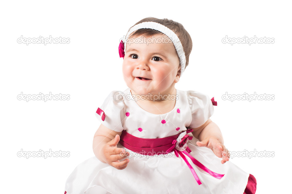 f77504ff7075 Little cute baby-girl in pink dress isolated on white background Use ...