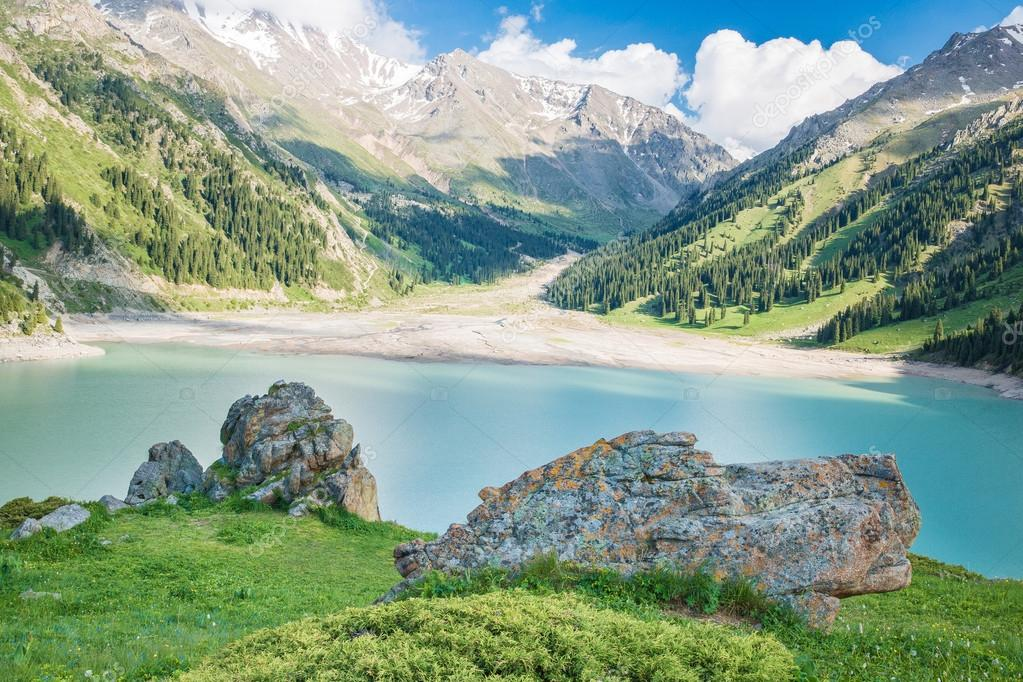 Spectacular scenic Big Almaty Lake Tien Shan Mountains in Almaty, Kazakhstan,Asia at summer