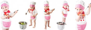 Baby cook girl wearing chef hat with fresh vegetables and fruits