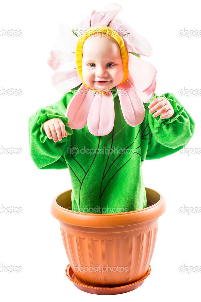 Adorable baby boy dressed in flower costume on white background u2014 Photo by vitmarkov  sc 1 st  Depositphotos & Baby boy dressed in flower costume u2014 Stock Photo © vitmarkov #43650559