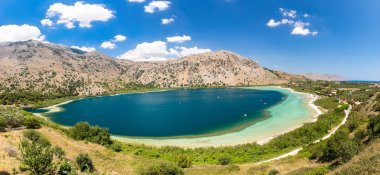 Freshwater lake in village Kavros in Crete  island, Greece. Magical turquoise waters, lagoons. Travel Background
