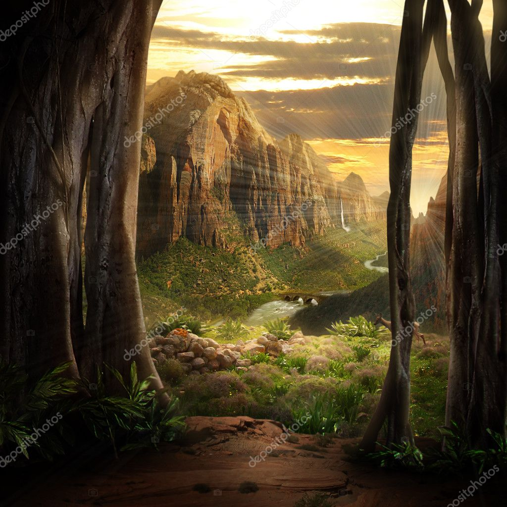 A magical phantasy landscape stock vector