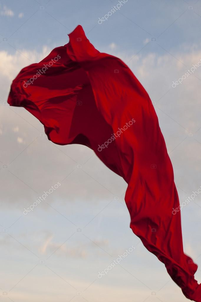 Red cloth flying in the sky