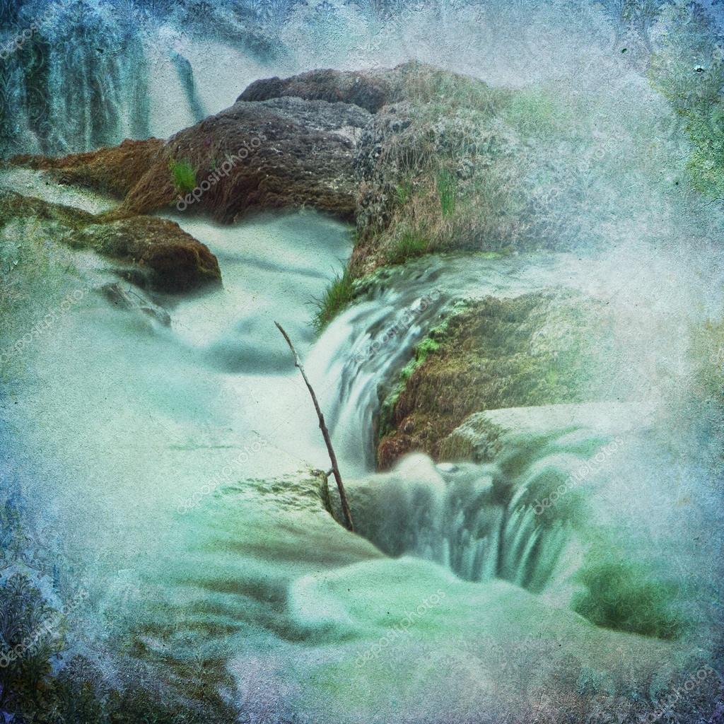 Grunge Waterfall Background
