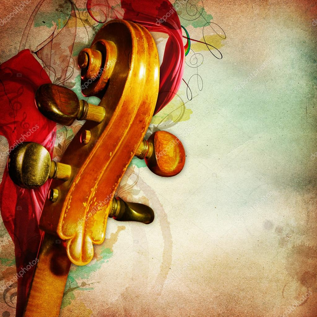 Vintage music background with contrabass