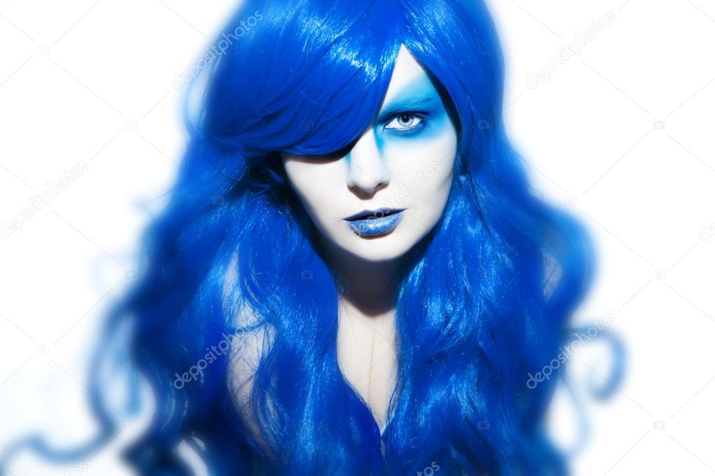 File Cyndi Blue Hair 2000 Jpg: Mujer Hermosa Con Maquillaje Y Cabello Azul