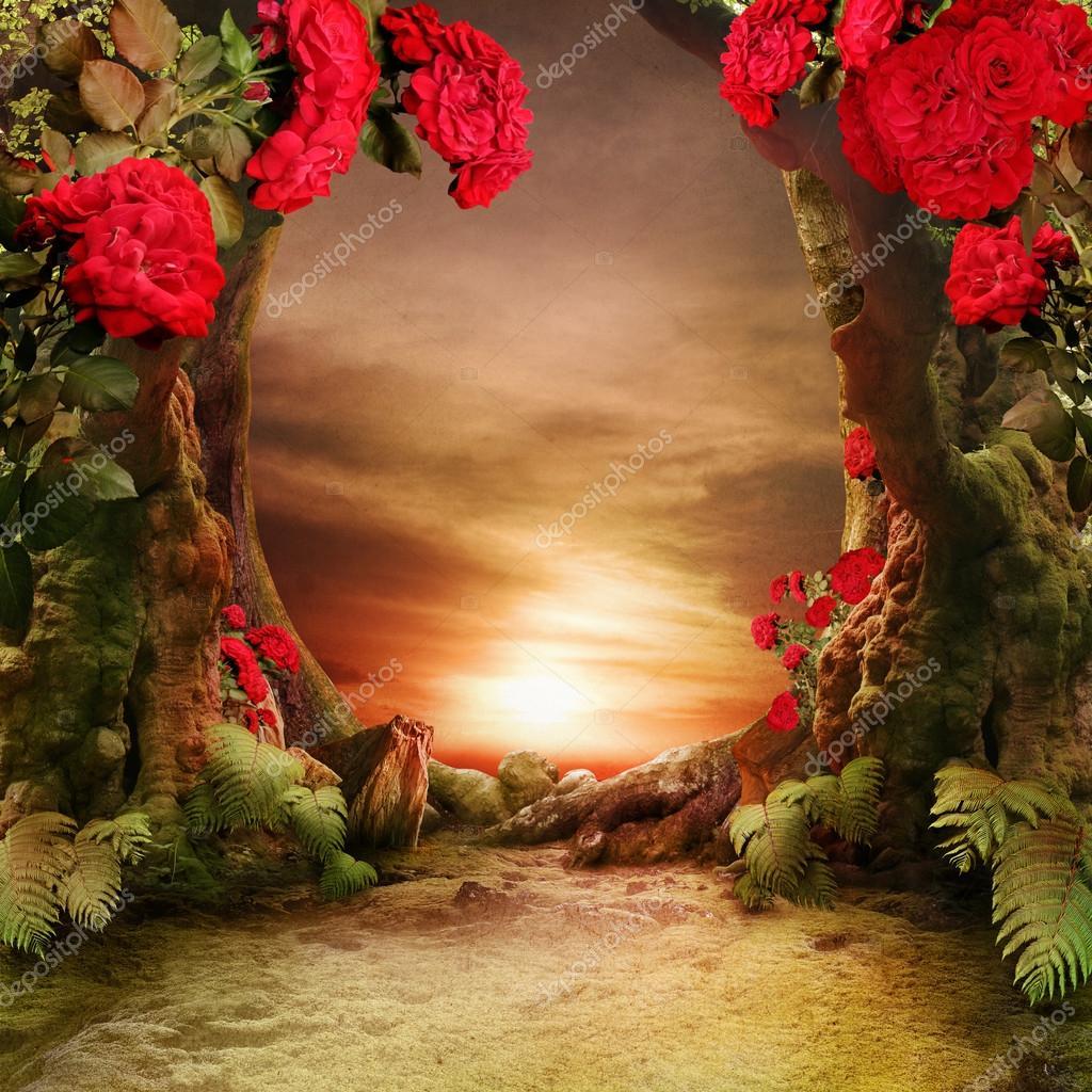 Romantic garden landscape