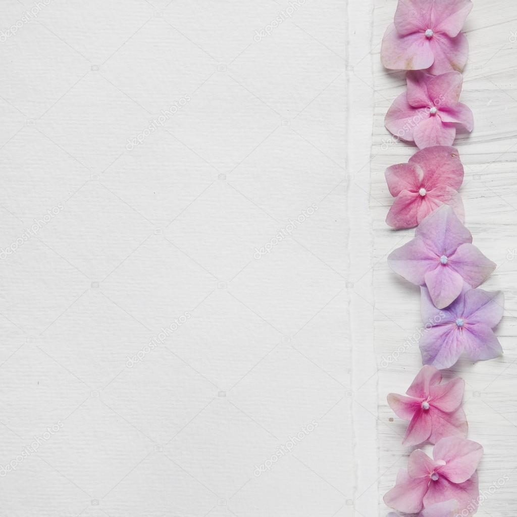 Shabby Chic Background With Pink Flowers Stock Photo
