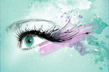 Beautiful woman eye, Artwork with ink in grunge style stock vector