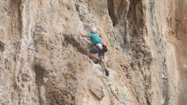 Man climbs