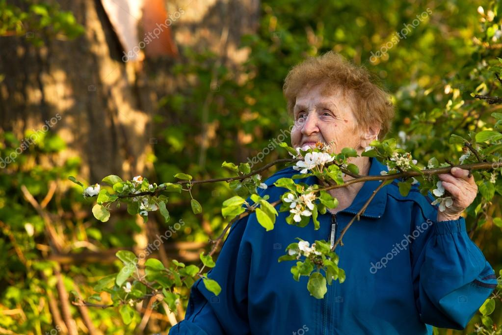 An elderly woman in a tracksuit standing in the park and smelling the flowers of apple
