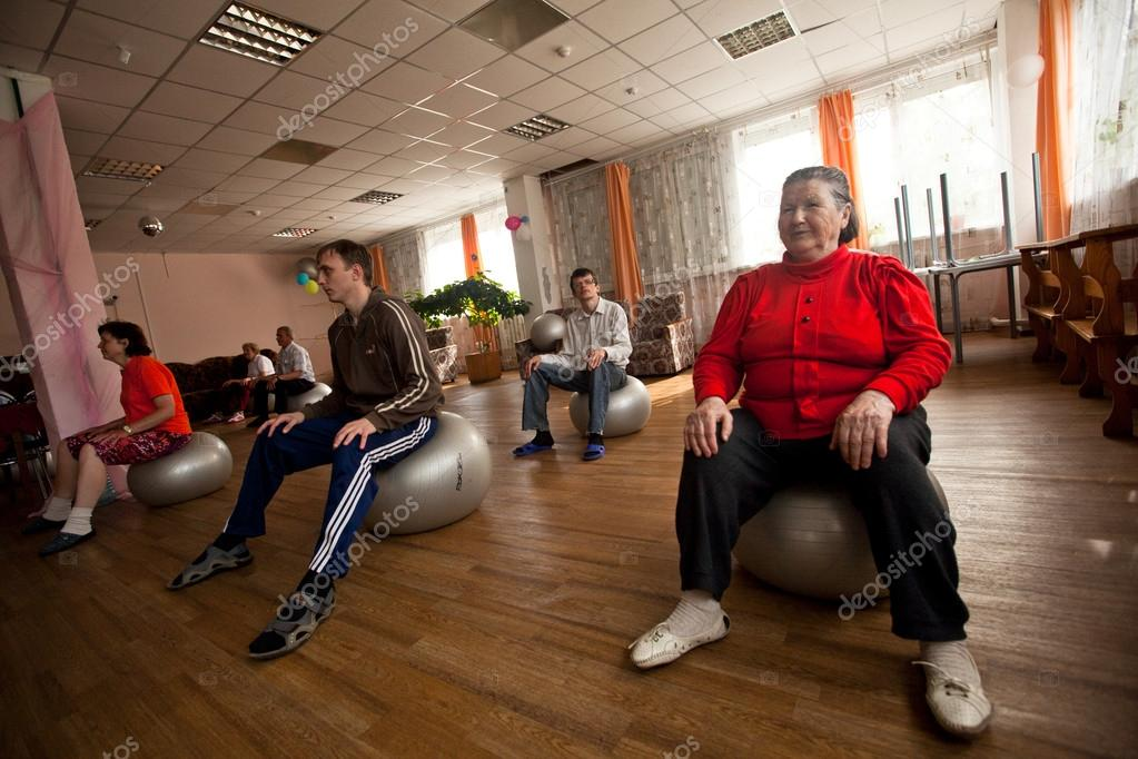 PODPOROZHYE, RUSSIA - JULY 5: Day of Health in Center of social services for pensioners and disabled Otrada.