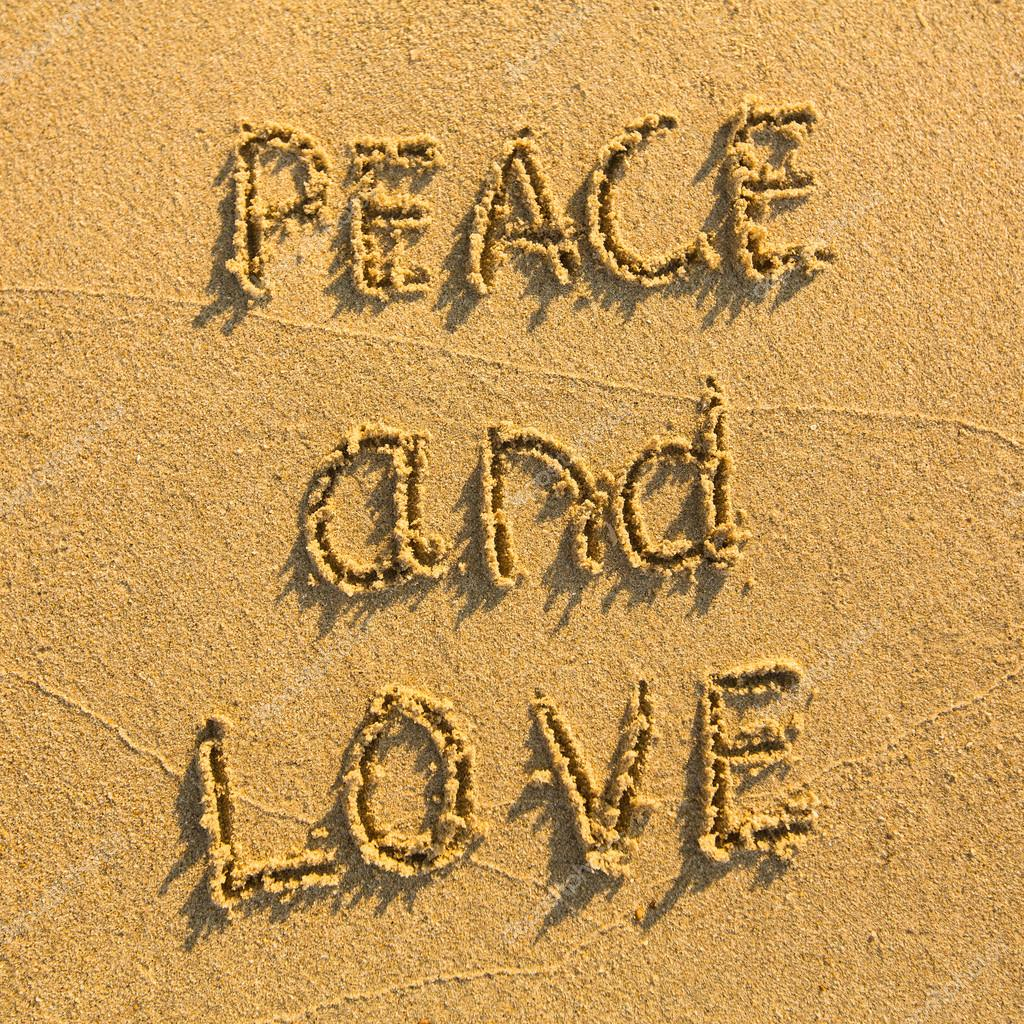 Peace and Love - drawn on the sand