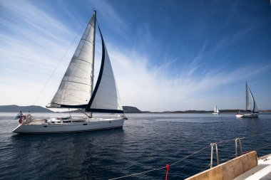 Sailing yacht race, picture with space for text or logos